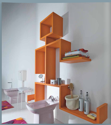 orange wall shelves in bathroom