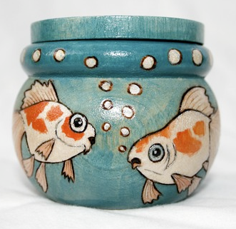 wooden trinket box with goldfish