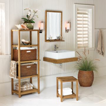 teak bathroom storage étagère with baskets