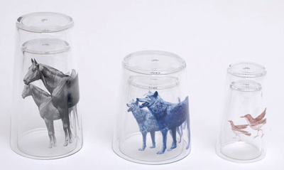 glasses, nesting - with pictures of horses, wolves, birds