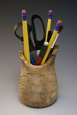 wood pencil jar / cup