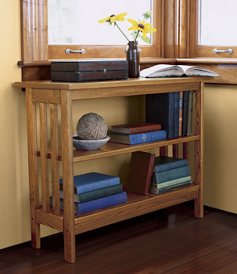 low bookshelf under window