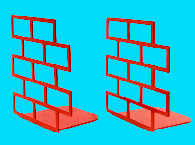 bookends shaped like stacked bricks