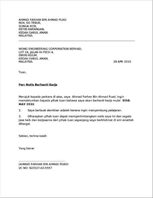 Contoh Surat Berhenti Kerja (Notis sebulan) - Masuk Lebih