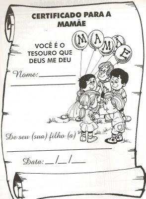 Cantinho da Macaquinha: Certificado para a Mãe