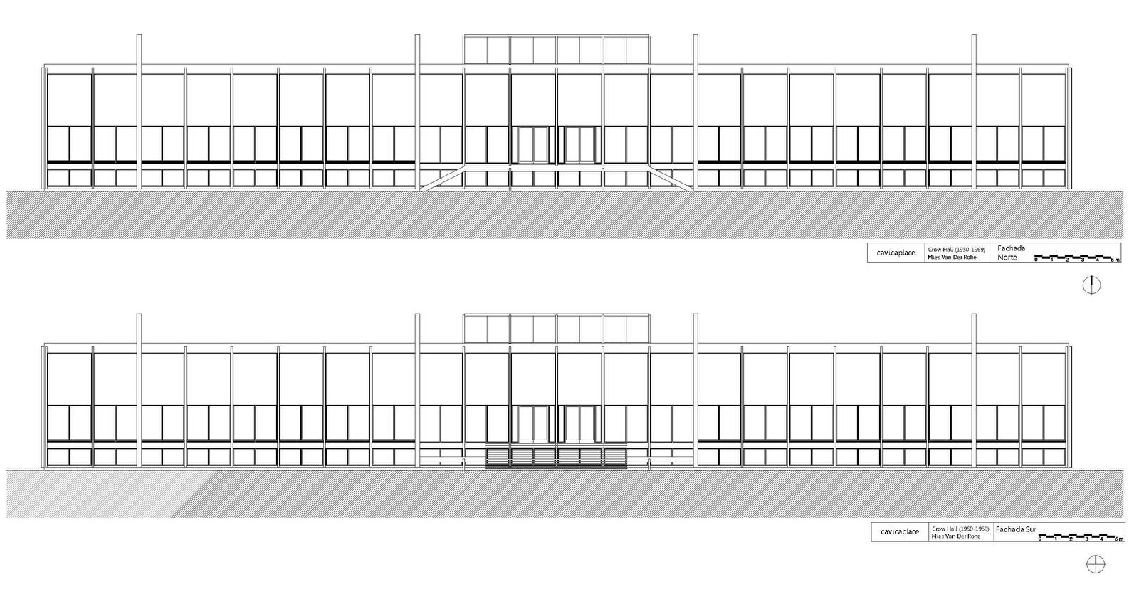 Manheim Floor Plan Mies Van Der Rohe The Crow Hall 1950 69 Taringa
