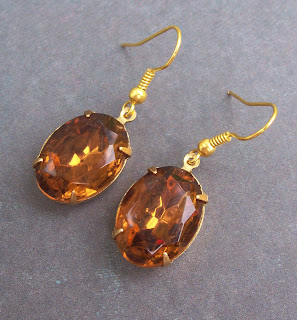 vintage glass jewel earrings topaz brown gold hollywood glam by Two Cheeky Monkeys on Etsy