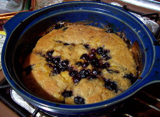 image orange and berry self saucing pudding blueberries raspberries almonds
