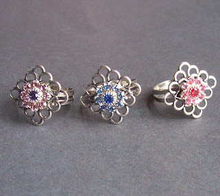 Swarovski and filigree rings at Two Cheeky Monkeys on Etsy