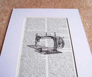 image of sewing machine art print vintage dictionary