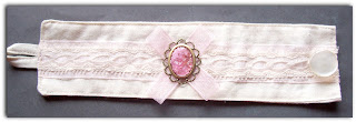 fabric cuff calico vintage cameo brass setting pink organza lace acrylic
