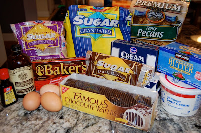 The ingredients you'll need for your Chocolate Glazed Triple Layer Chocolate Cheesecake.
