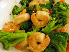 Stri-fried shrimp with broccoli (mushroom)