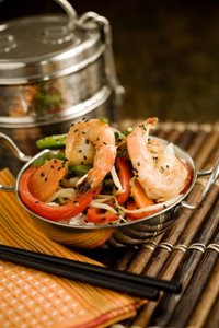 Black sesame shrimp stir fry