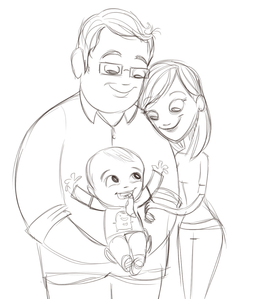 Penguin Stands Alone: Family Sketch