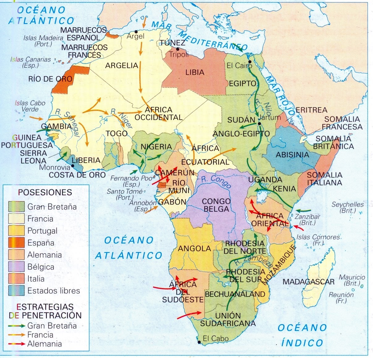 Blank Map Africa 1914