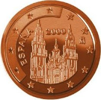 Монета: евроцент Собор Святого Иакова, Сантьяго-де-Компостелла, Испания