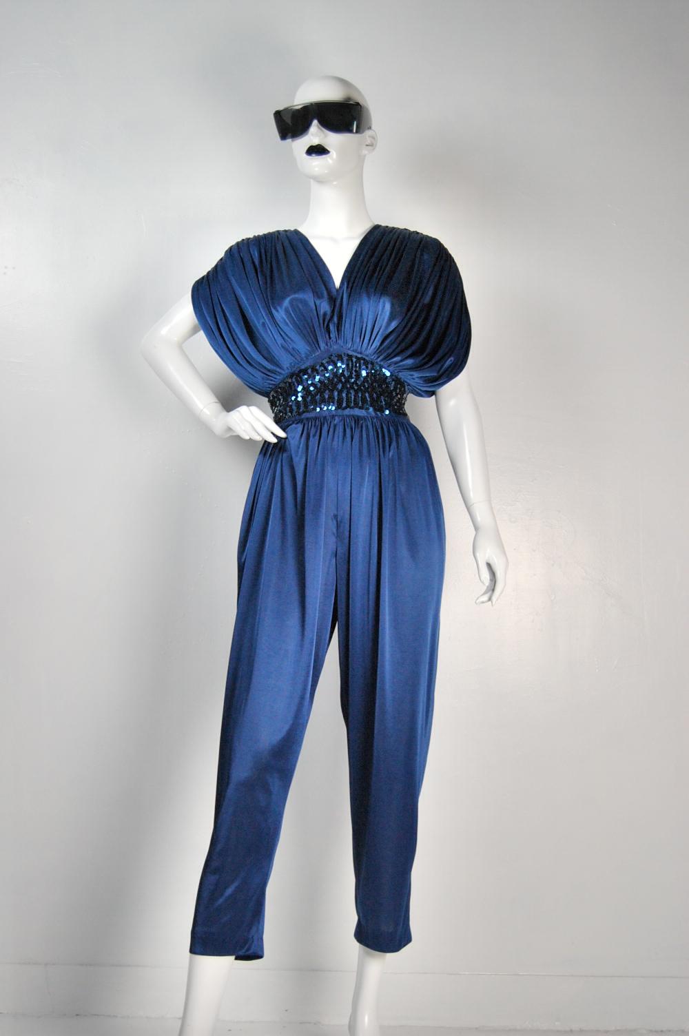 Alcatrock Navy Blue Sequin Jumpsuit