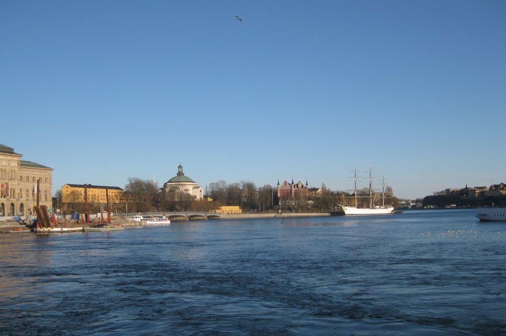 Blick auf Skeppsholmen mit der Af Chapman, Stockholm