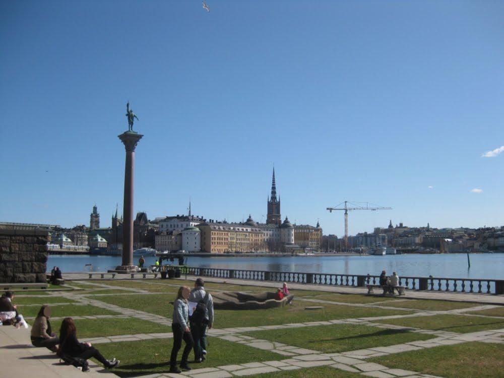 Terrasse vor dem Stockholmer Rathaus - Mittagspause