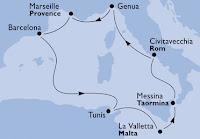 Route Kreuzfahrt westliches Mittelmeer MSC Splendida 2009 / Foto: MSC