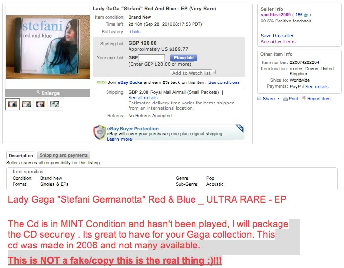 Gagafrontrow Com Ebay Alert Fake Red And Blue Again And Again