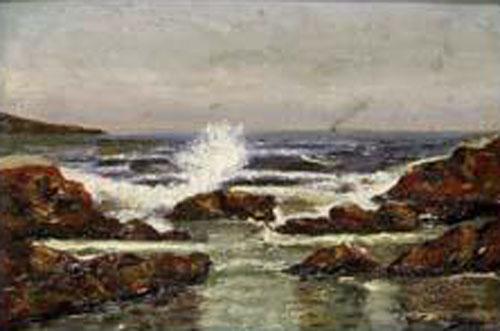 Rocas en la costa, Juan Martínez Abades, Pintor español, Paisajes de Juan  Martínez Abades, Pintor Martínez Abades, Pintores españoles, Pintores Asturianos, Martínez Abades