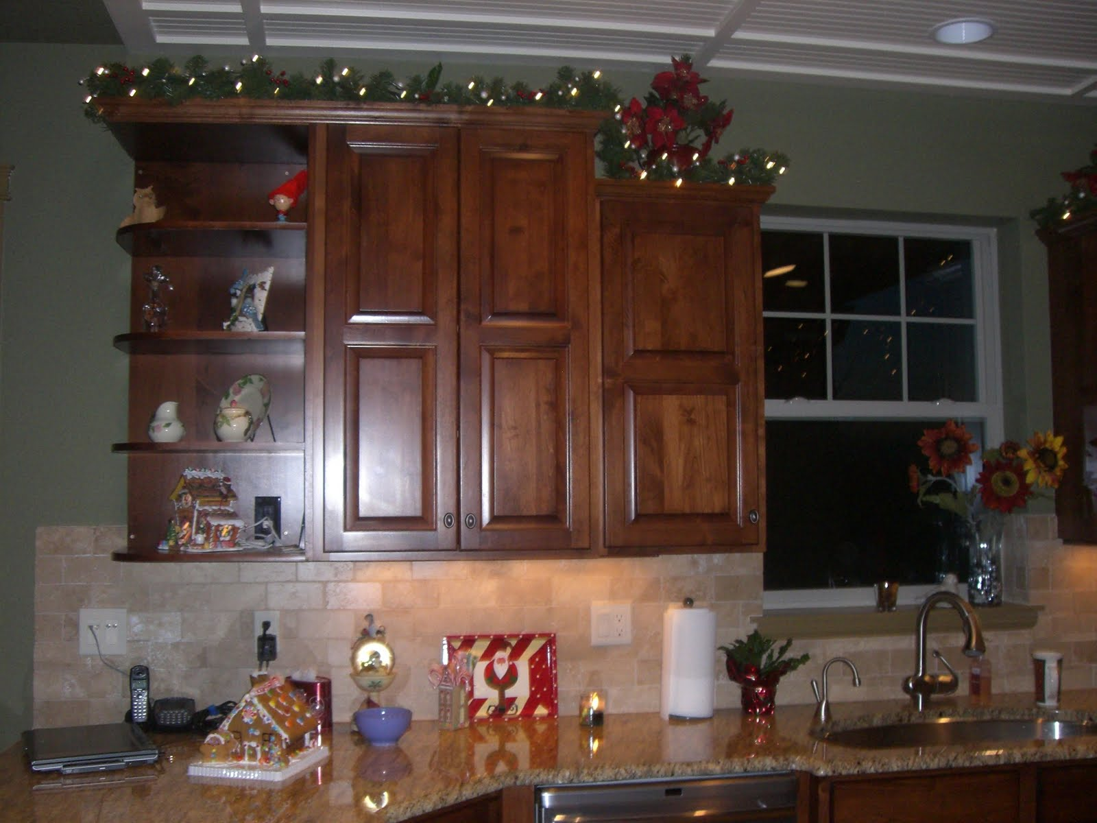 garland for above kitchen cabinets decorating top of kitchen cabinets for best 15772
