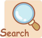 Disegno di una lente e della scritta 'Search'