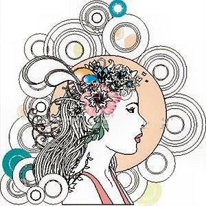 Disegno fantasia con profilo di donna e cerchi tutt'intorno.