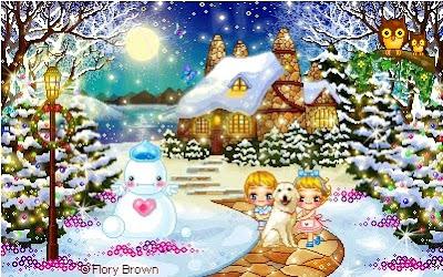 Cartolina pixel con paesaggio natalizio colorato e luminoso, bimbi e cagnolino