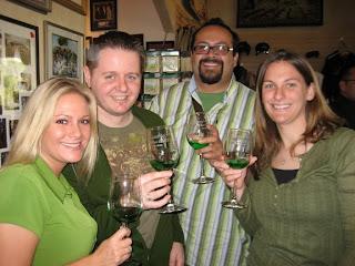 Enjoying some green wine