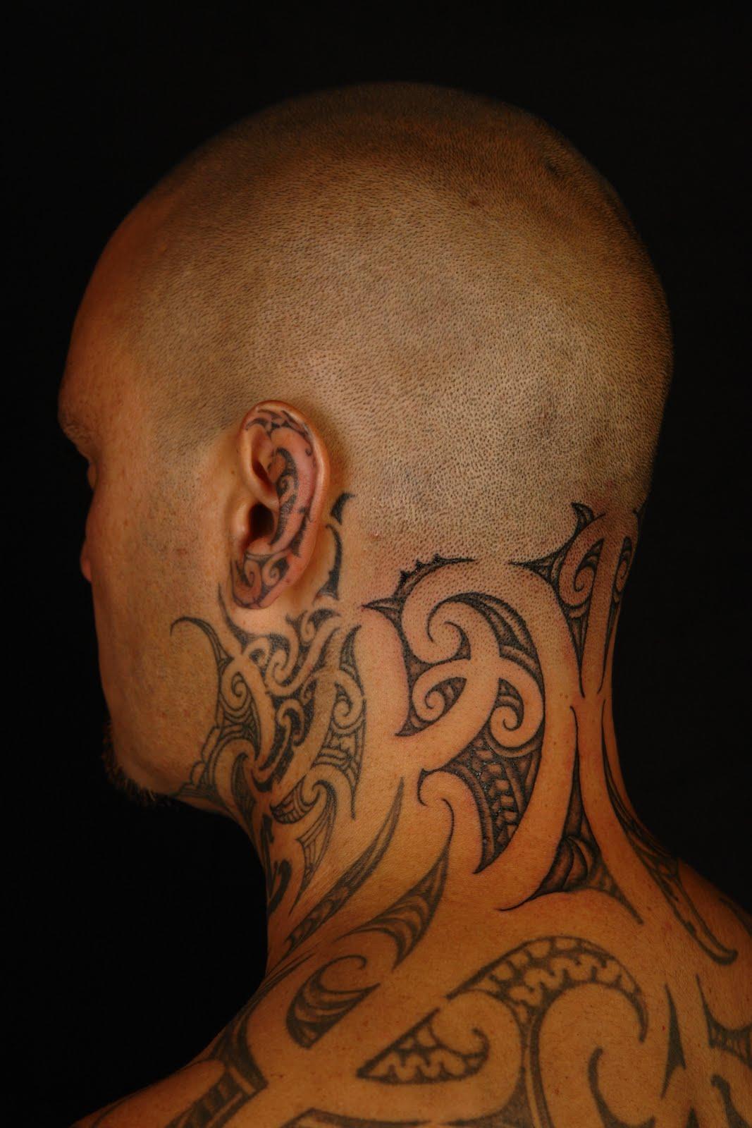 MAORI POLYNESIAN TATTOO: Tiki Taane Neck Tattoo