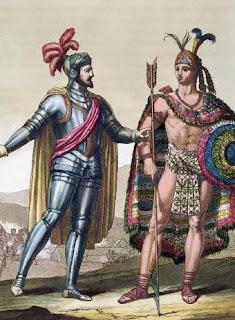 Moctezuma II y Hernan Cortes