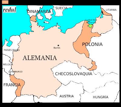Mapa de Alemania despues de la Primera Guerra Mundial