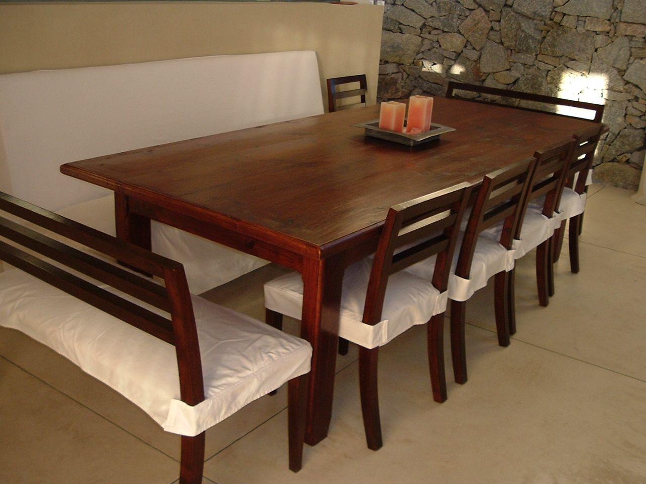 Conjunto de mesa y 6 sillas de comedor mesa de madera con for Mesas y sillas de madera