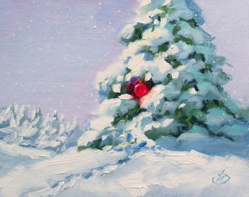 CHRISTMAS PAINTING SMALL WORKS SALE BY TOM BROWN