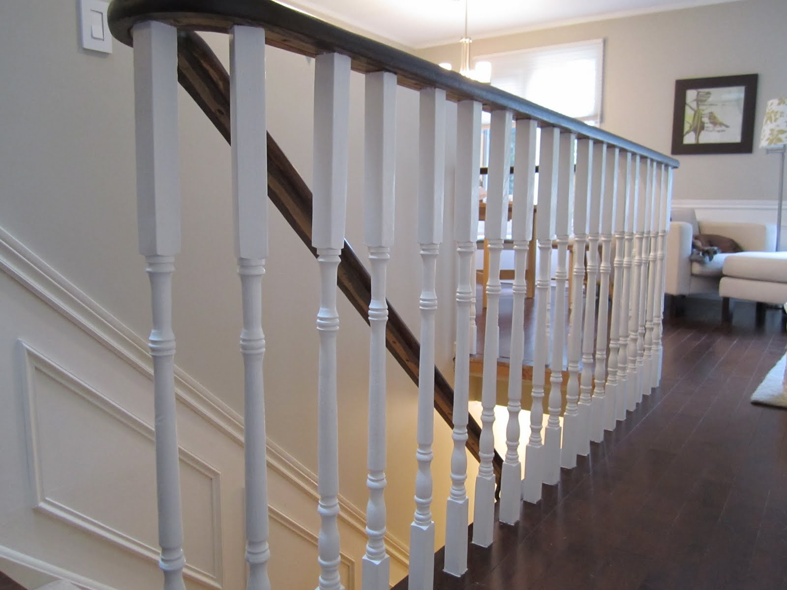 Remodelaholic | Updating an Oak Stair or Handrail to White ...