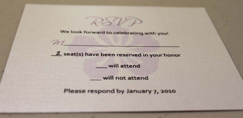 Wedding Invitation Regrets: Invitations Rsvp No Regrets