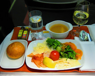 Business Class meal aboard Iberia Airlines
