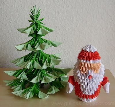gulnas 39 kunstblog der weihnachtsmann und tannenbaum 3d modulares origami. Black Bedroom Furniture Sets. Home Design Ideas
