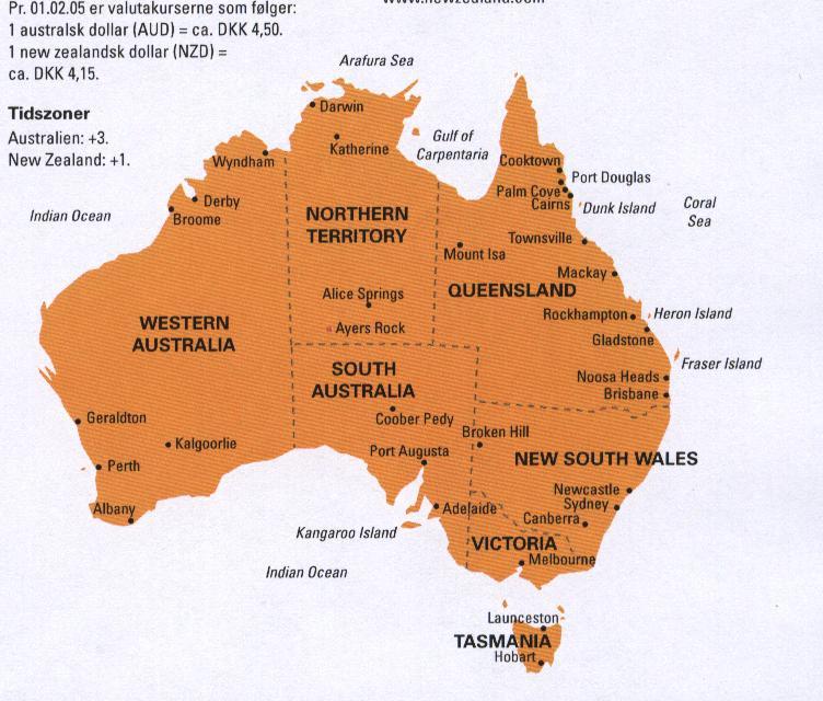 Brandt S Tur Til Australien Kort Over Australien