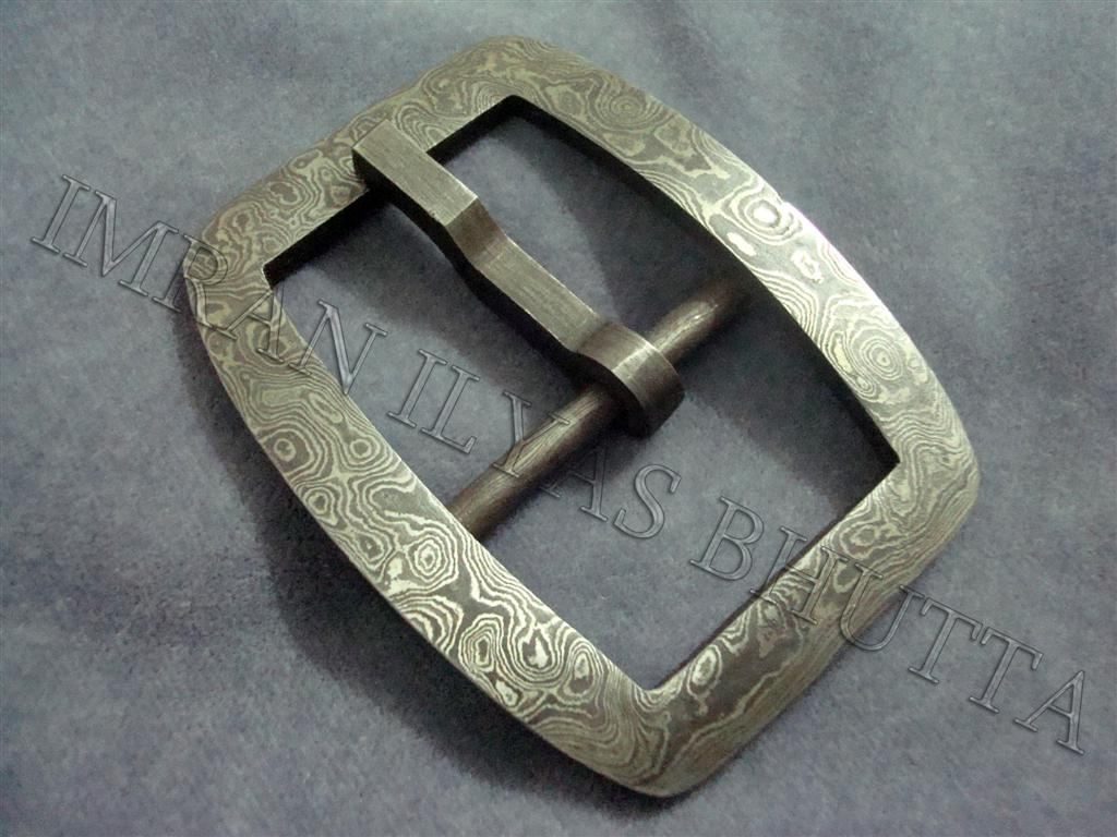 Old Style Frame Buckle With Damascus Steel Parts
