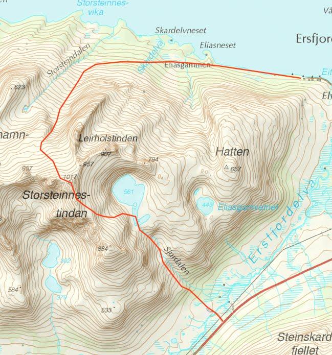kattfjordeidet kart Toppturmania: Storsteinnestinden (1017moh): ettermiddagstur med  kattfjordeidet kart