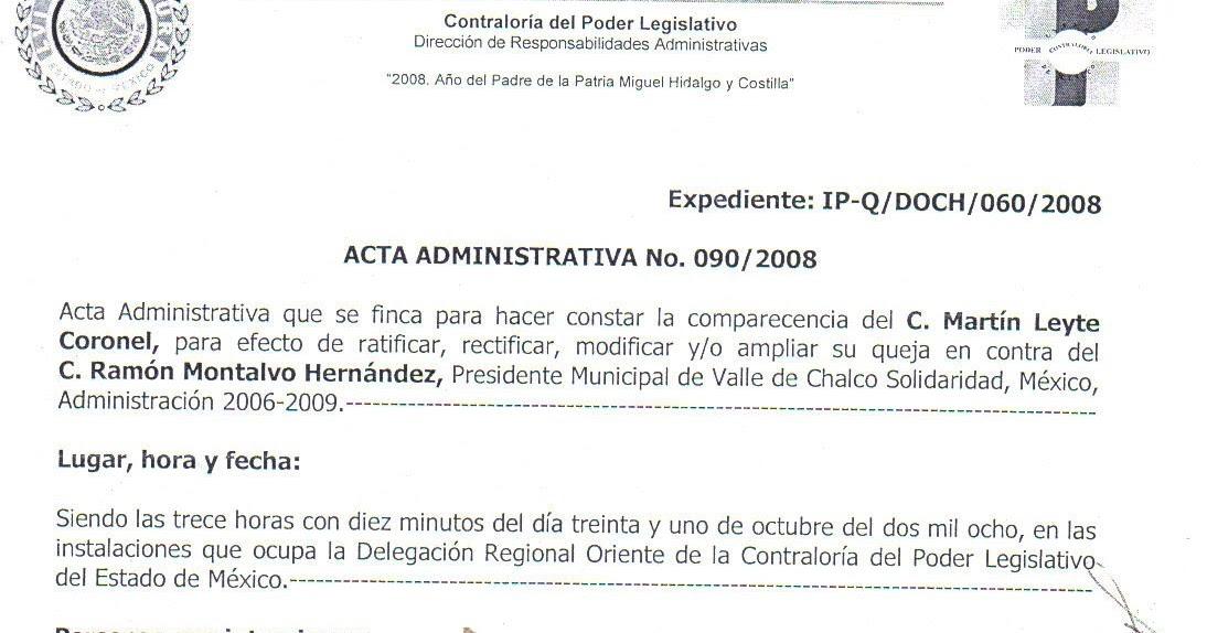 Contexto Mexiquense Inician Acta Administrativa En La