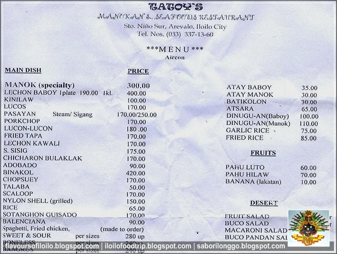 Tatoy S Manukan And Seafoods Menu And Price List