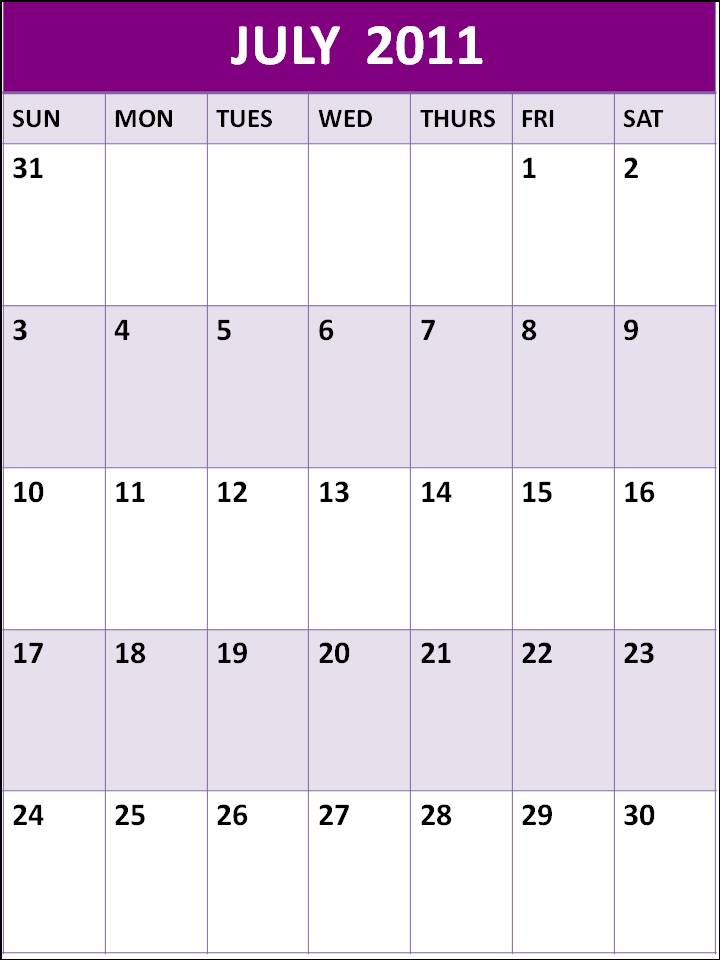 june july calendar 2011 - photo #10