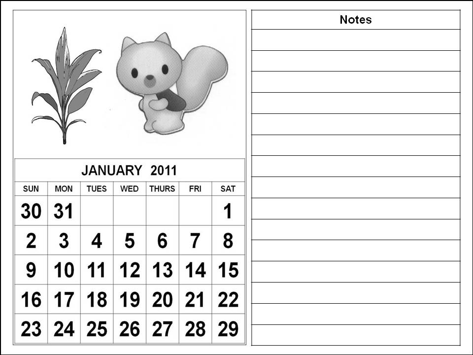 2011 calendar pages. Black and White Cute Cartoons 2011 Calendar Coloring Pages - January 2011