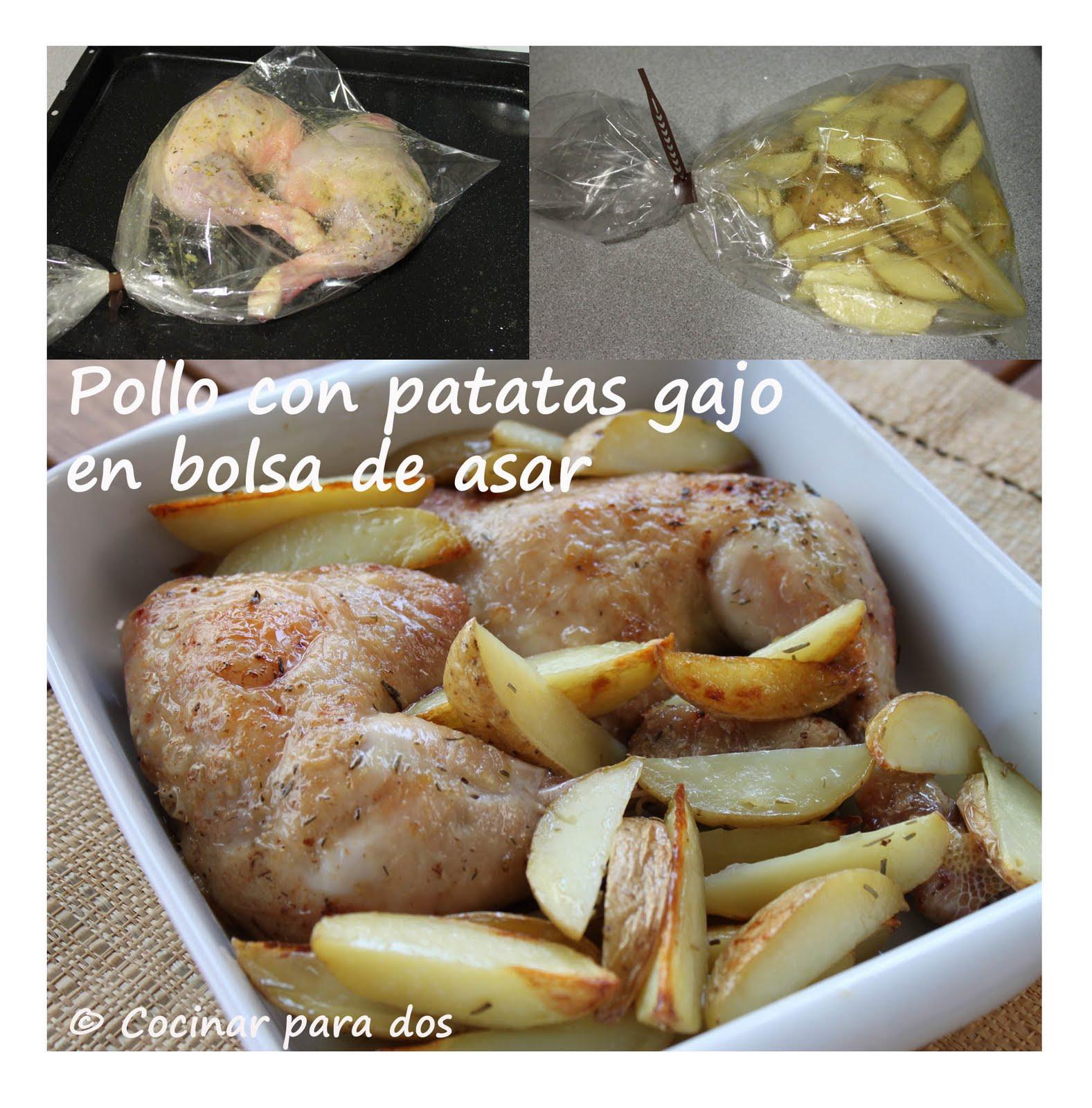 Pollo Con Patatas Gajo En Bolsa De Asar Cocinar Para 2