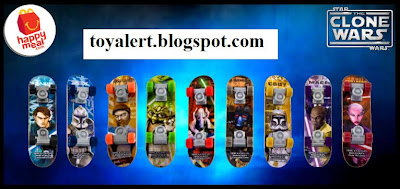 McDonalds Star Wars - The Clone Wars Happy Meal Toys 2010 - Mini Skateboards / Fingerboards - Anakin Skywalker, Captain Rex, Obi-wan Kenobi, Yoda, General Grievous,  Cad Bane, Commander Cody, Mace Windu, Asajj Ventress